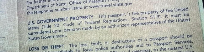 The US Government is the owner of your passport.