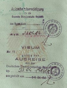 An old passport with a visa for East Germany.