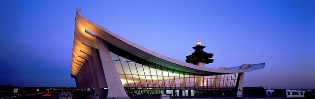Dulles Airport, outside Washington, DC, with air traffic control tower visible
