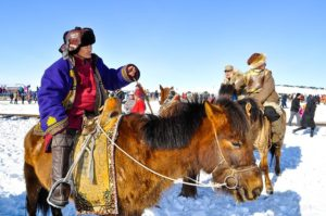Traditional horsemen in Mongolia